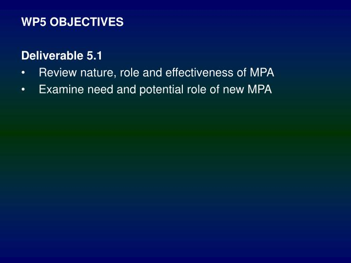 WP5 OBJECTIVES