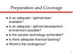 preparation and coverage