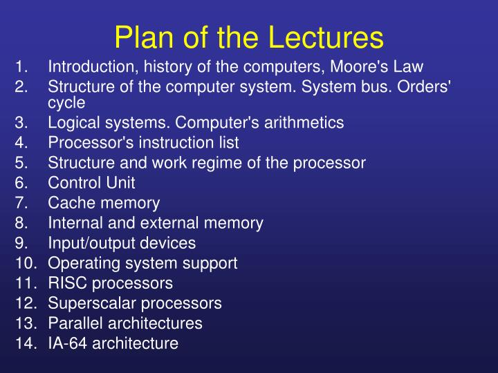 Plan of the lectures