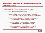 national textbook delivery program textbook count25