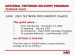 national textbook delivery program textbook count6
