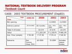 national textbook delivery program textbook count7