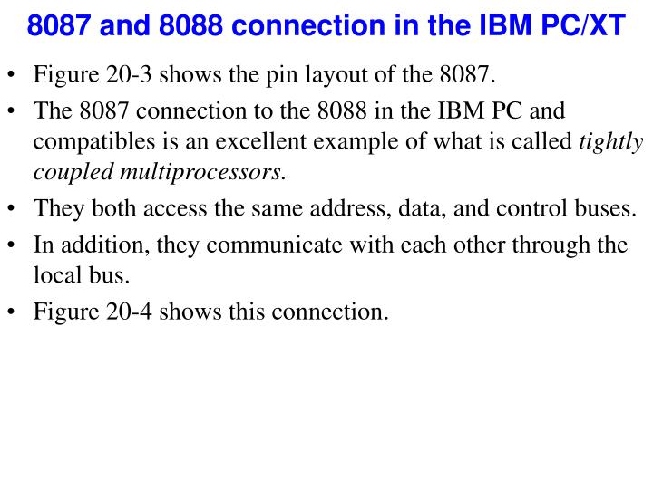 8087 and 8088 connection in the IBM PC/XT