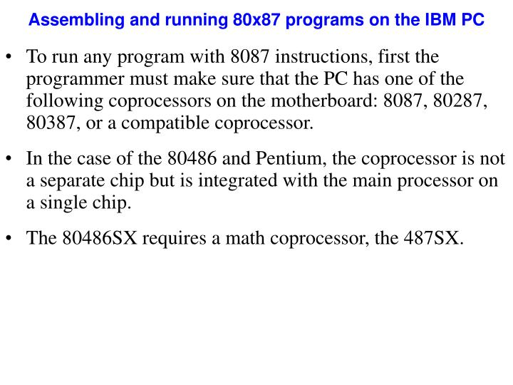 Assembling and running 80x87 programs on the IBM PC