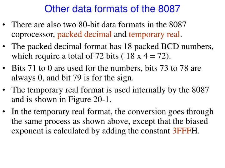 Other data formats of the 8087
