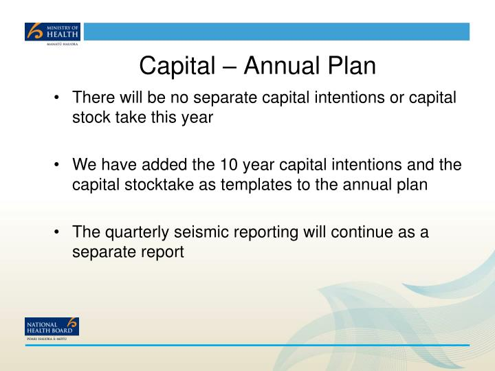 Capital – Annual Plan