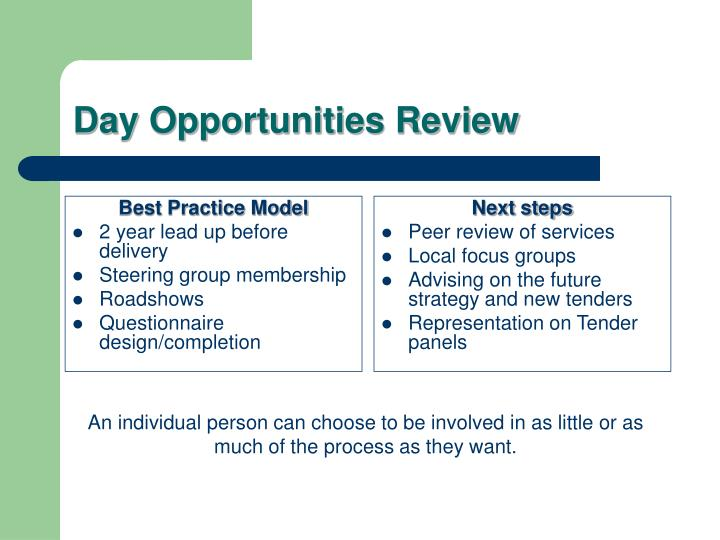 Day opportunities review