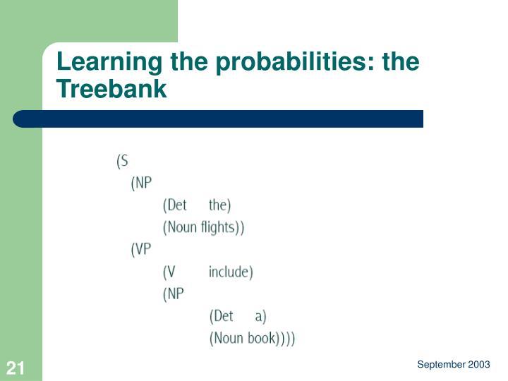 Learning the probabilities: the Treebank