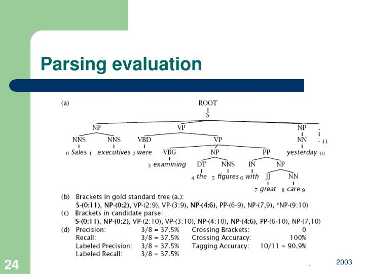Parsing evaluation