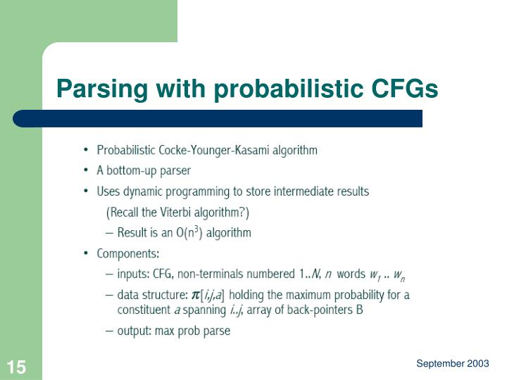 Parsing with probabilistic CFGs