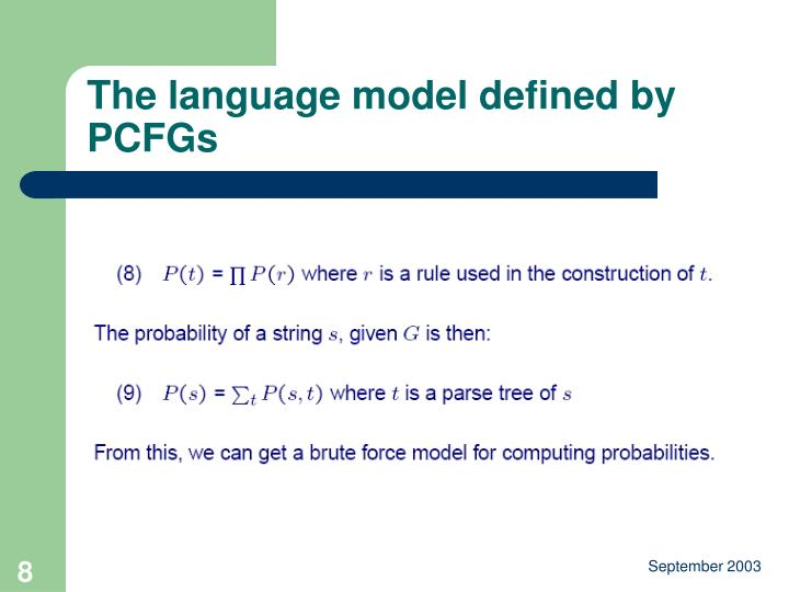 The language model defined by PCFGs