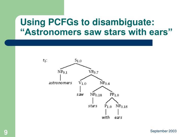 Using PCFGs to disambiguate: