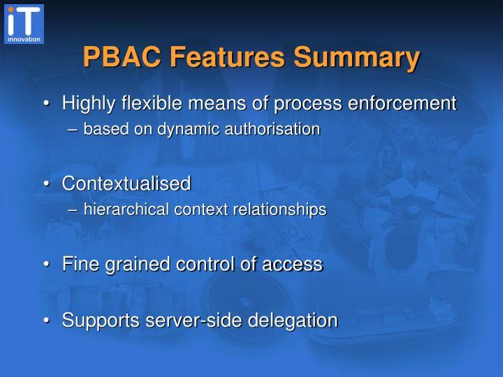PBAC Features Summary