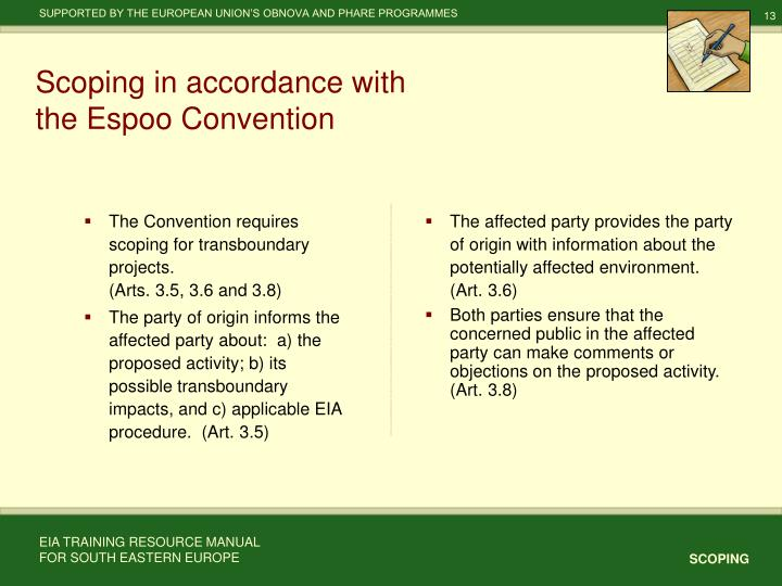 The Convention requires scoping for transboundary projects.