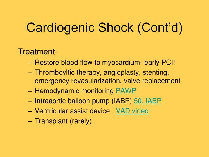 Cardiogenic Shock (Cont'd)