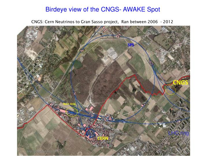 Birdeye view of the CNGS- AWAKE Spot