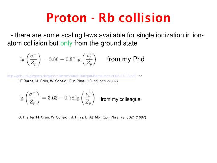 Proton - Rb collision
