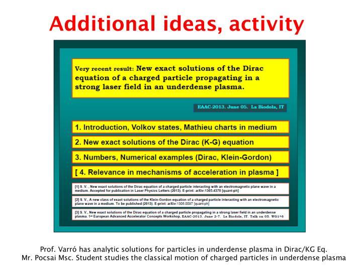 Additional ideas, activity