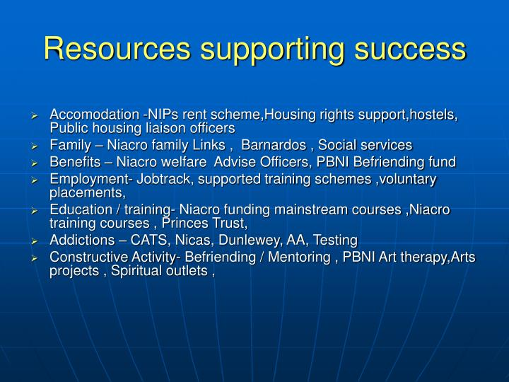 Resources supporting success