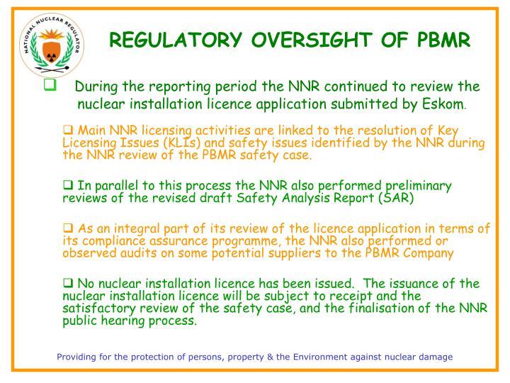 REGULATORY OVERSIGHT OF PBMR