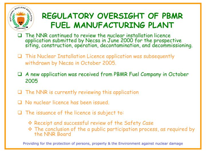 REGULATORY OVERSIGHT OF PBMR FUEL MANUFACTURING PLANT