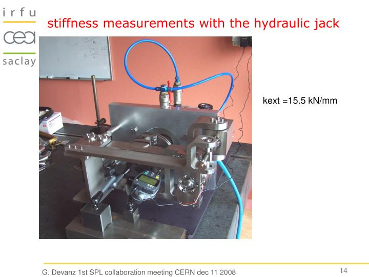 stiffness measurements with the hydraulic jack