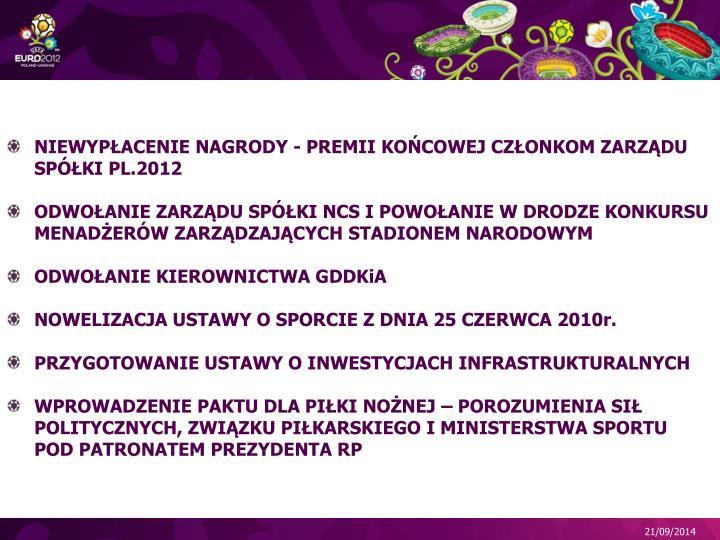 NIEWYPŁACENIE NAGRODY - PREMII KOŃCOWEJ CZŁONKOM ZARZĄDU SPÓŁKI PL.2012
