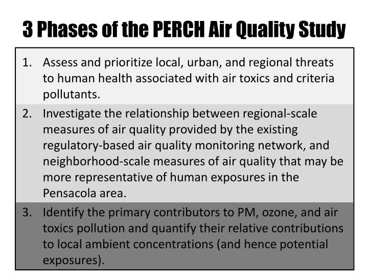 3 Phases of the PERCH Air Quality Study