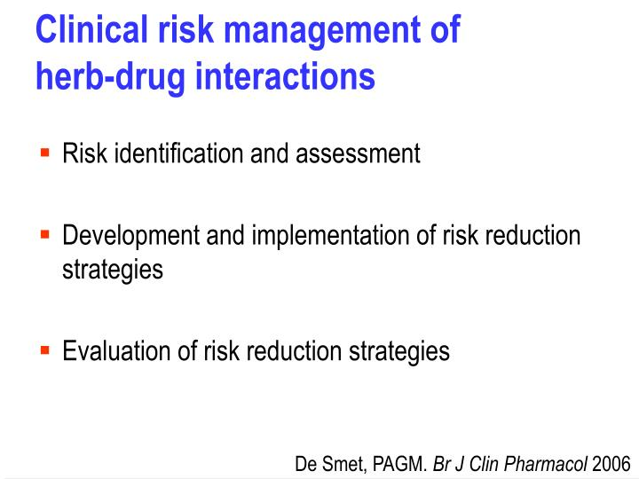 Clinical risk management of