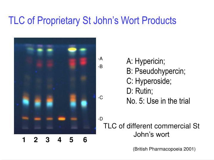 TLC of Proprietary St John's Wort Products