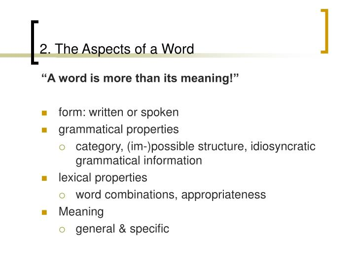 2. The Aspects of a Word