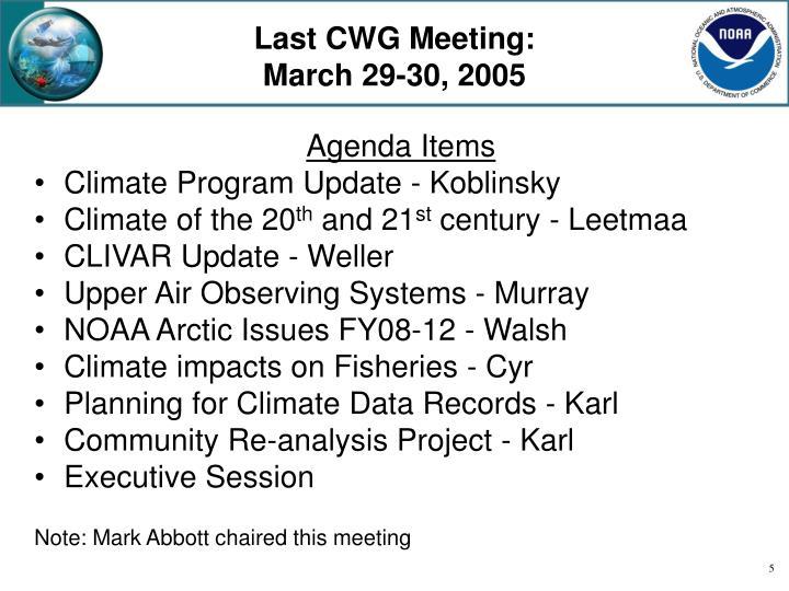 Last CWG Meeting: