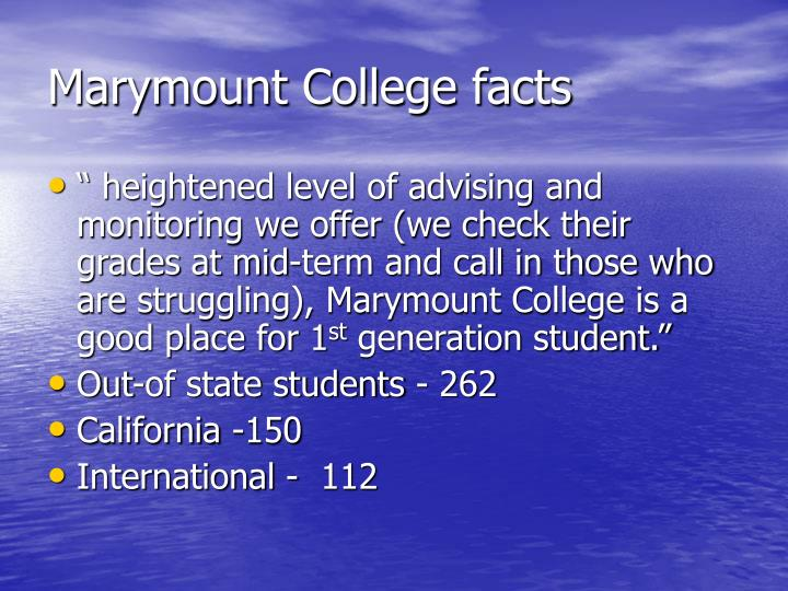 Marymount College facts