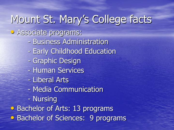 Mount St. Mary's College facts