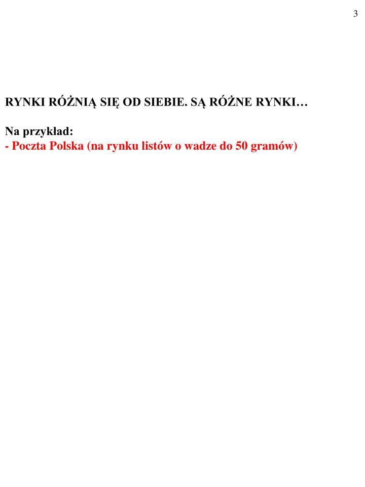 Rynki r ni si od siebie s r ne rynki na przyk ad poczta polska na rynku list w o wadze do 50 gram w