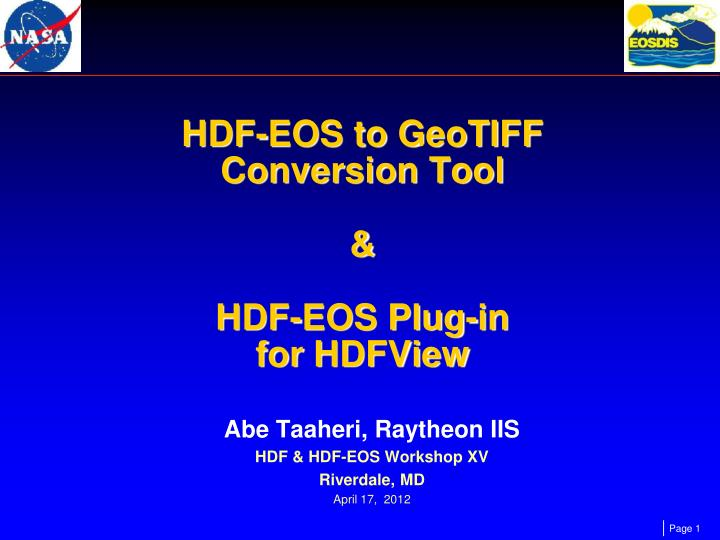 hdf eos to geotiff conversion tool hdf eos plug in for hdfview n.