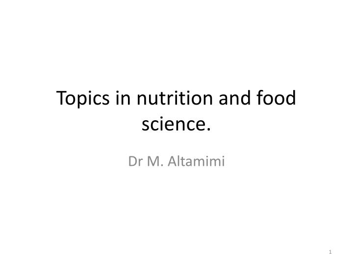 topics in nutrition and food science n.
