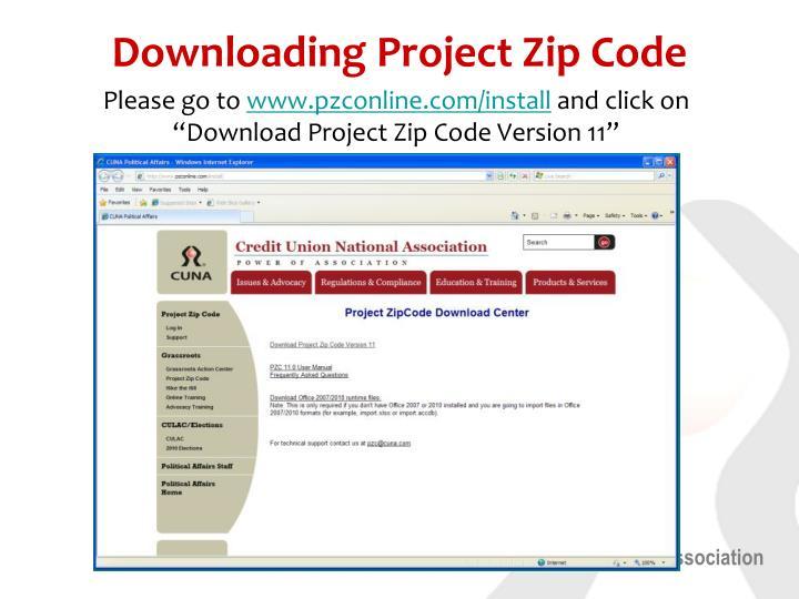 Downloading project zip code