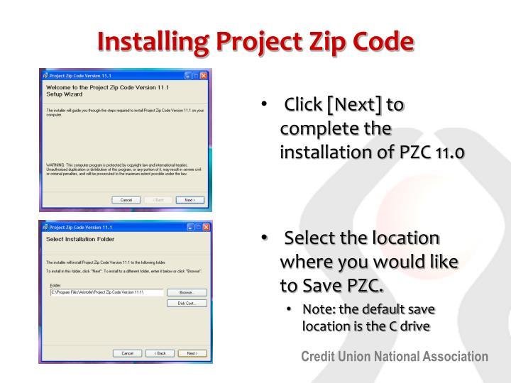 Installing Project Zip Code