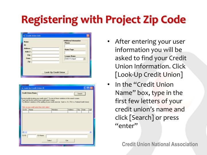 Registering with Project Zip Code