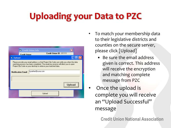 Uploading your Data to PZC