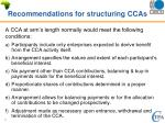 recommendations for structuring ccas