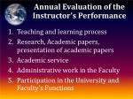 annual evaluation of the instructor s performance