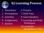 b learning process