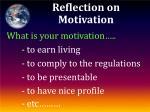 reflection on motivation