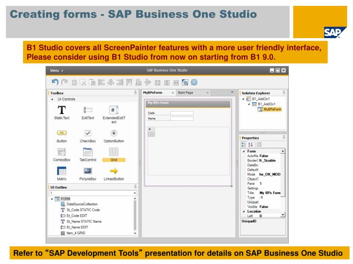 Creating forms - SAP Business One Studio