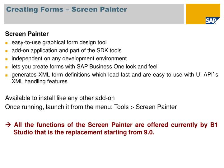 Creating Forms – Screen Painter
