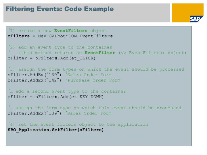 Filtering Events: Code Example