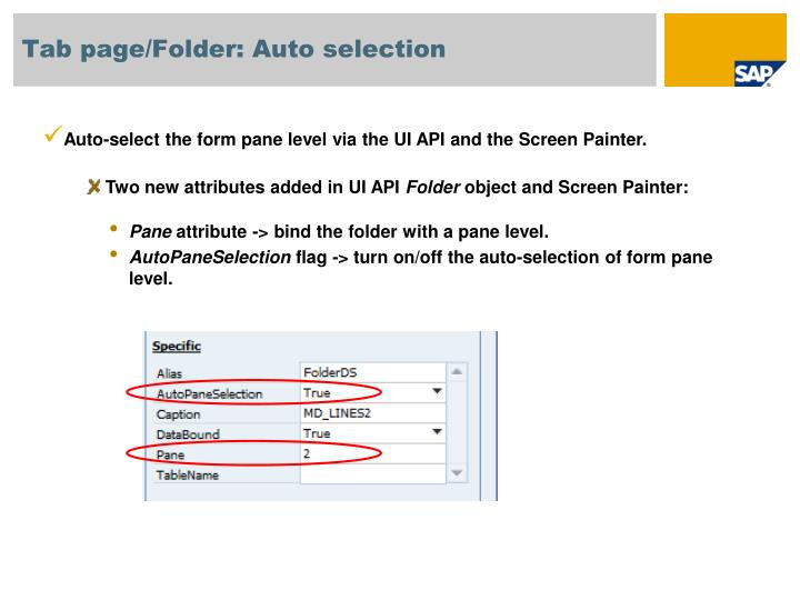 Tab page/Folder: Auto selection