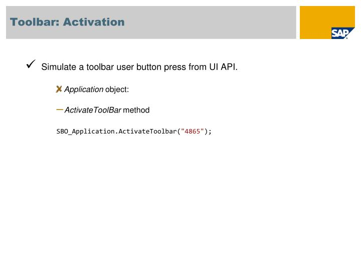 Toolbar: Activation